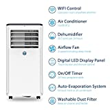JHS 10,000 BTUs Portable Air Conditioner WIFI Remote Control with Mobile App, A016-10KR/B1 Portable AC Unit Small Air Cooler Dehumidifier with Timer, Sleep Mode and 2 Fan Speeds
