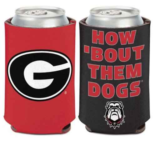 WinCraft NCAA University Georgia Bulldogs Slogan 1 Pack 12 oz. 2-Sided Can Cooler