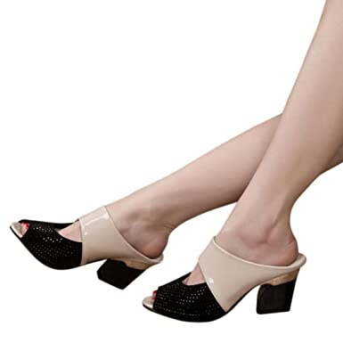 8d9917969d01 Amazon.com  Baigoods Ladies Women Sandals Mixed Colors Square High Heels  Slipper Fish Mouth Square Heel Shoes  Clothing