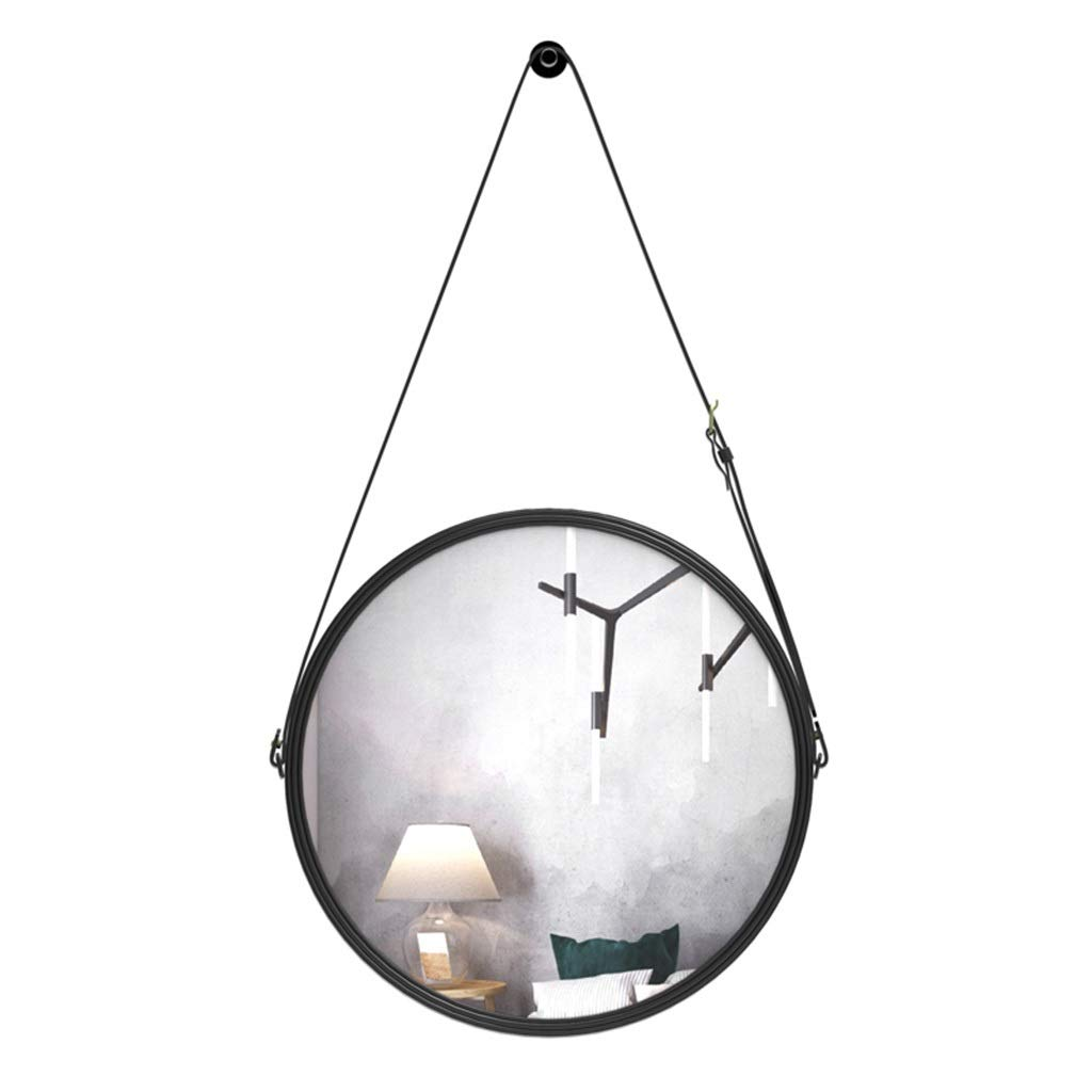 60cm RXY-mirror Wrought Iron Round Bathroom Mirror, PU Belt Hanging Makeup Mirror, Dormitory Dressing Wall Mirror (Size   60cm)