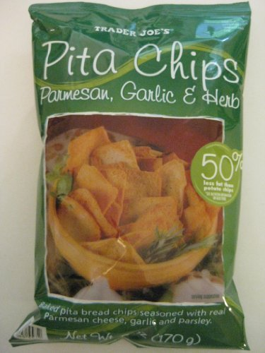 2 Pack Trader Joe's Pita Chips Parmesan, Garlic, & Herb Flavored