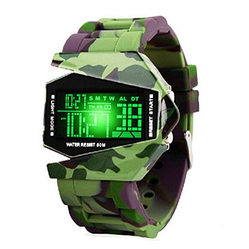 Fighter Pilot Watch - Kids Men's Digital Sport Watch Warcraft Fighter Multi Function for Age Above 12 LED 50M Outdoor Waterproof Electronic Analog Quartz Silicone Wrist Watches for Kids Toddler Boys Men (camouflage green)