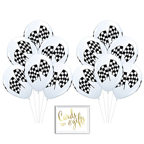 Andaz Press Bulk High Quality Latex Balloon Party Kit with Gold Cards & Gifts Sign, Black and White Checkered Racing Flags Race Car Printed 11-inch Balloons, Wholesale 50-Pack