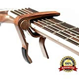 BestSounds Wooden Guitar Capo for 6 String Acoustic Guitar, Electric Guitar,Bass & Ukulele (Rosewood color)