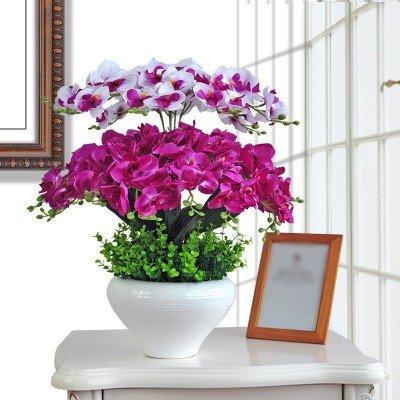 GBHNJ Falso Blanco Violeta Orquídea Mariposa Decoración Florero Artificial F