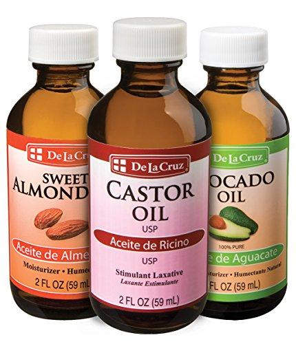 (De La Cruz Sweet Almond Oil + Castor Oil + Avocado Oil, Expeller-Pressed, Non-GMO, Bottled in USA (Three 2 FL. OZ. Bottles))