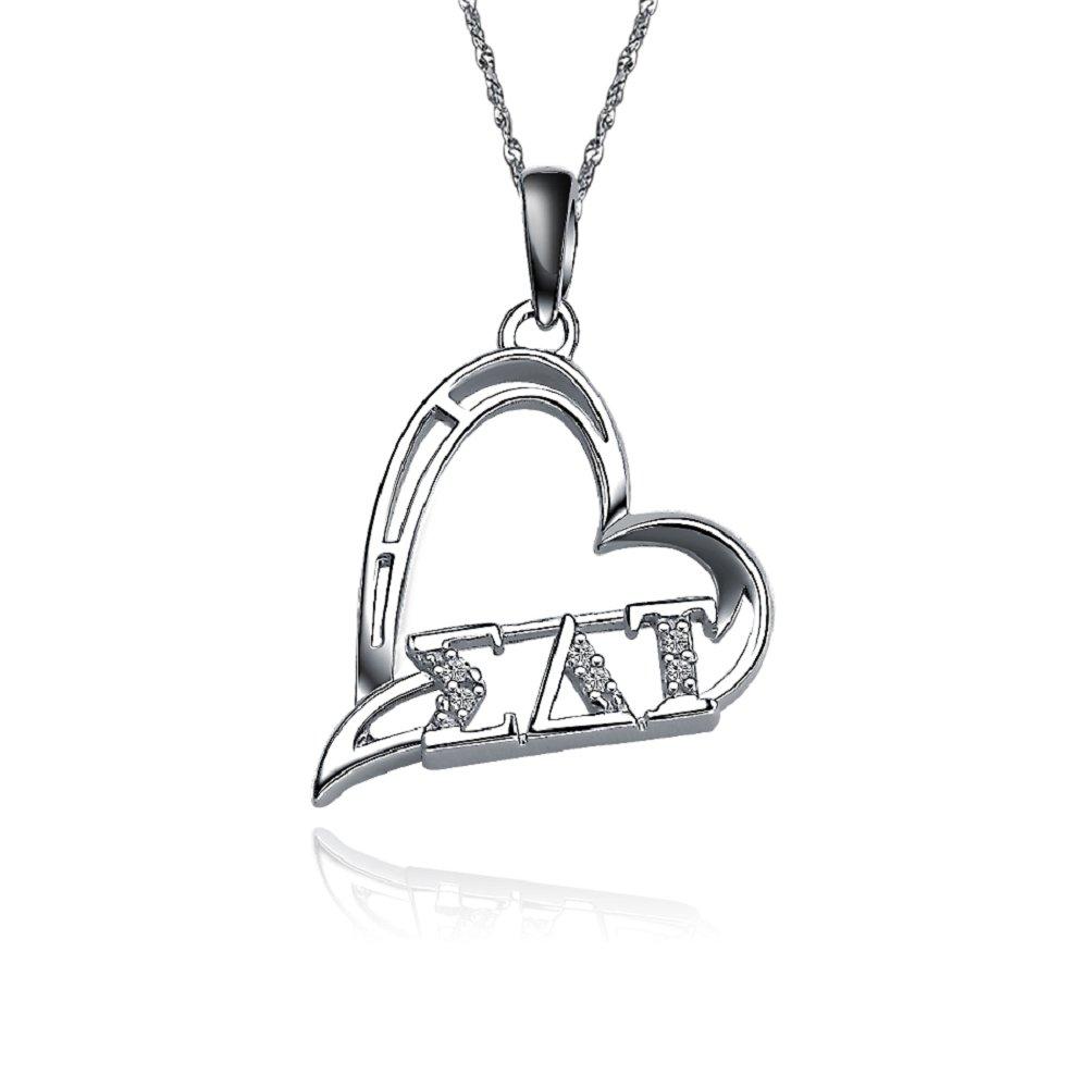 SDT-P003 Sigma Delta Tau Heart Shape Silver Lavalier