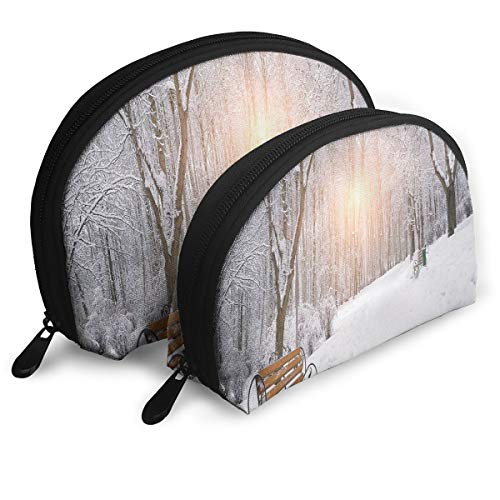 Shell Shape Makeup Bag Set Portable Purse Travel Cosmetic Pouch,Snow Covered Leafless Trees And Benches In The City Park Sunset Woodland Outdoors,Women Toiletry ()