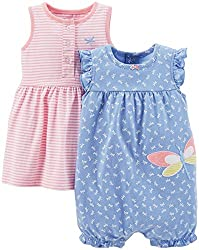 Carter's Baby Girls Dress & Romper Set with Panty (24 Months, Blue-Sailboats/Polka Dots)