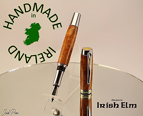 Fountain pen with FREE Desk stand, pen in Irish Elm handmade in Ireland, wooden ink pen, writers dip pen, Poets Pen Pal, FREE personal note in the lid of the pen case by Irish Pens
