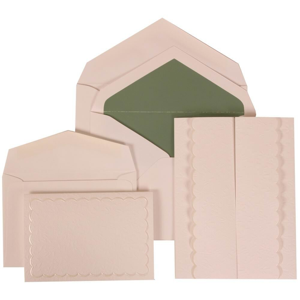 JAM Paper® Wedding Invitation Combo Set - White Card with Sage Green Lined Envelope with White Garden Tuxedo - 1 Small & 1 Large - 150/pack