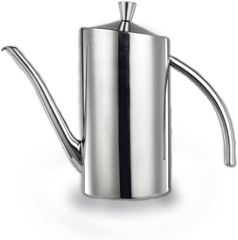 Oil Bottle Dispenser Pot Olive Oil Stopper Soy Sauce Vinegar Cruet Drizzler 500ml Stainless Steel with Handle Non Drip Spout for Kitchen Restaurant BBQ