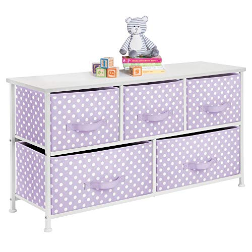 mDesign 5-Drawer Dresser Storage Unit – Sturdy Steel Frame, Wood Top and Easy Pull Fabric Bins in 2 Sizes – Multi-Bin Organizer for Child/Kids Bedroom or Nursery – Light Purple with White Polka Dots