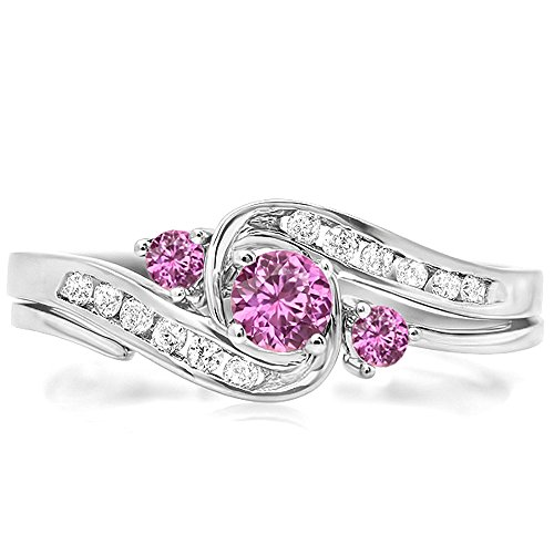 Natural Pink Sapphire Ring (10K White Gold Round Pink Sapphire & White Diamond Swirl Bridal Engagement Ring With Band Set (Size 5))