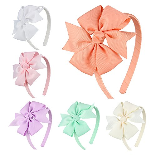 7 Rainbows Girls Boutique Grosgrain Ribbon Headband with Bows(6 pieces a - Girl Ribbon Fancy