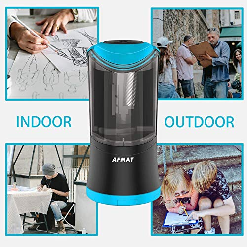 Electric Long Point Pencil Sharpener for Artists, Automatic Long Point Sharpener for 6-9.6mm Pencils, Drawing Pencil Sharpener, Rechargeable Fat Pencil Sharpeners for Prismacolor Sketching/Charcoal/Co by AFMAT (Image #6)