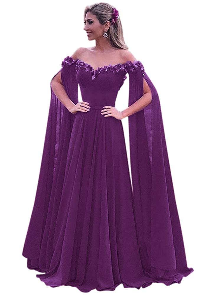Plum Harsuccting Elegant 3D Flower Long Sleeve Corset Evening Prom Dress