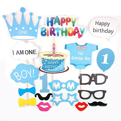 Losuya Baby Boy 1st Birthday Party Photo Booth Props Baby Shower Photobooth Props Blue Kit 25pcs Mustache Cake Happy Birthday Party Decor Favor