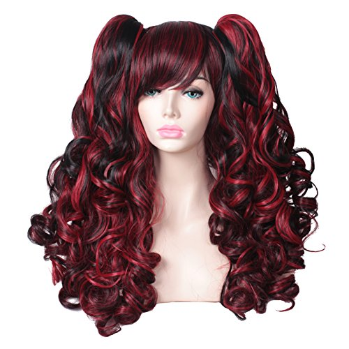 FantaLook Long Black with Red Wavy Costume Wig with 2 Ponytails Clips (Black with Red)