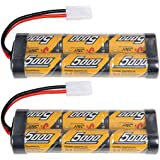 2 Pack 7.2v 5000mAh NiMh Rechargable RC Battery Packs for RC Cars,Electric Rc Monster Trucks,Traxxas With Tamiya Connectors