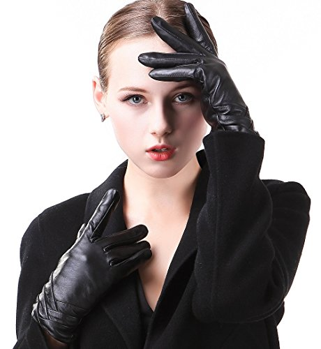Harrms Best Luxury Touchscreen Italian Nappa Genuine Leather Gloves for women's Texting Driving Cashmere Lining (2XL-8''(US Standard Size), BLACK(CASHMERE LINING )) by Harrms