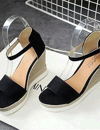 ShangYi Sandaletten für Damen Damenschuhe-Sandalen-Lässig-Vlies-Keilabsatz-Wedges-Schwarz / Grau , black-us7.5 / eu38 / uk5.5 / cn38 , black-us7.5 / eu38 / uk5.5 / cn38