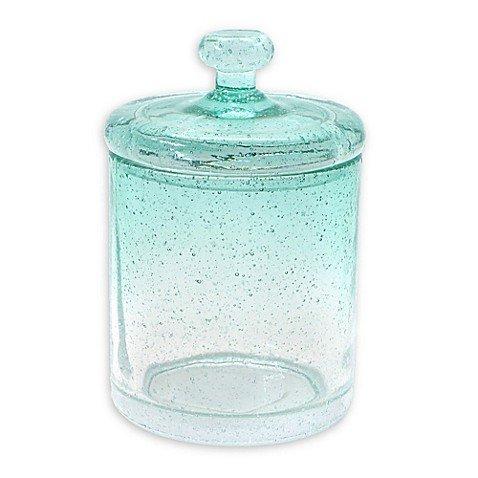 Capri Bubble Glass Cotton Ball Jar in Aqua