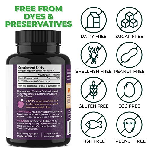 5-HTP Serenity Daily Serotonin Supplement Helps Boost and Improve Mood, Relaxation and Brain Function Helps Regulate Sleep and Appetite by ForesLeaf 200 mg 90 V-Caps