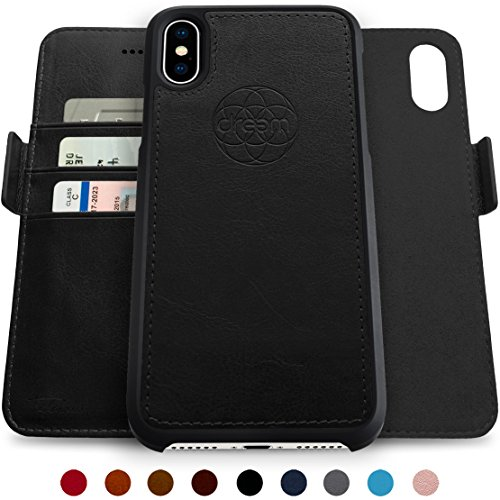 Dreem Fibonacci Wallet Case iPhone X [10], Magnetic Detachable TPU Slim-Case, Luxury Vegan Leather, RFID Protection, Easy 2-Way Stand, Gift Box – Black