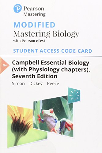 Modified MasteringBiology with Pearson eText -- Standalone Access Card -- for Campbell Essential Biology (with Physiology chapters) (7th Edition)