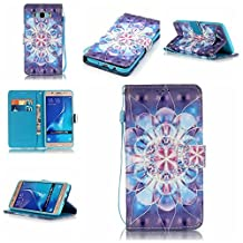 KMETY Beauty Luxury 3D Fashion PU Flip Stand Credit Card ID Holders Wallet Leather Case Cover for Samsung Galaxy S6 EDGE PLUS (Crystal flower 3D)