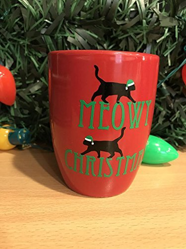 Merry Meowy Christmas Tree Funny Holiday Cat Lover Crazy Cat Lady Mug Christmas Gift