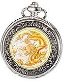 AMPM24 Men's Yellow Dragon Dangle Pendant Pocket Quartz Watch + Gift Chain WPK041