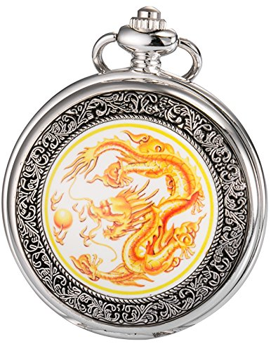 AMPM24 Men's Yellow Dragon Dangle Pendant Pocket Quartz Watch + Gift Chain - Pocket Crown Watch