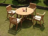 "New 5 Pc Luxurious Grade-A Teak Dining Set: 48"" Round Butterfly Table and 4 Arbor Arm Stacking Chairs"