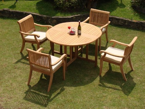 """New 5 Pc Luxurious Grade-A Teak Dining Set: 48"""" Round Butterfly Table and 4 Arbor Arm Stacking Chairs - The chairs are stackable for easy storage. Round table folds in butterfly fashion. Also has a hole for an umbrella. ADD SUNBRELLA FABRIC CUSHIONS BY SEARCHING ASIN """"B01I4CC166"""" or """"Wholesaleteak Dining Cushion"""" ON AMAZON, CUSTOM MADE FOR THESE STYLE CHAIRS - patio-furniture, dining-sets-patio-funiture, patio - 51Tuasq1rZL -"""