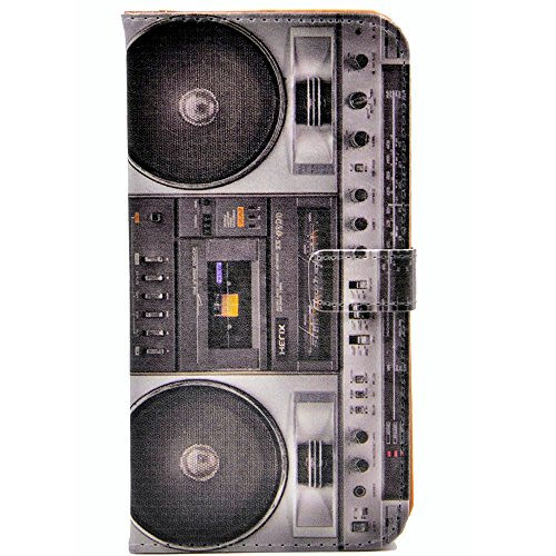 Cool Fun Boom Box Retro Dj Vintage Music Speakers Cassette Player Tape Design Leather Wallet Credit Card Holder Pouch Flip Stand Case Cover For iphone 6 6S