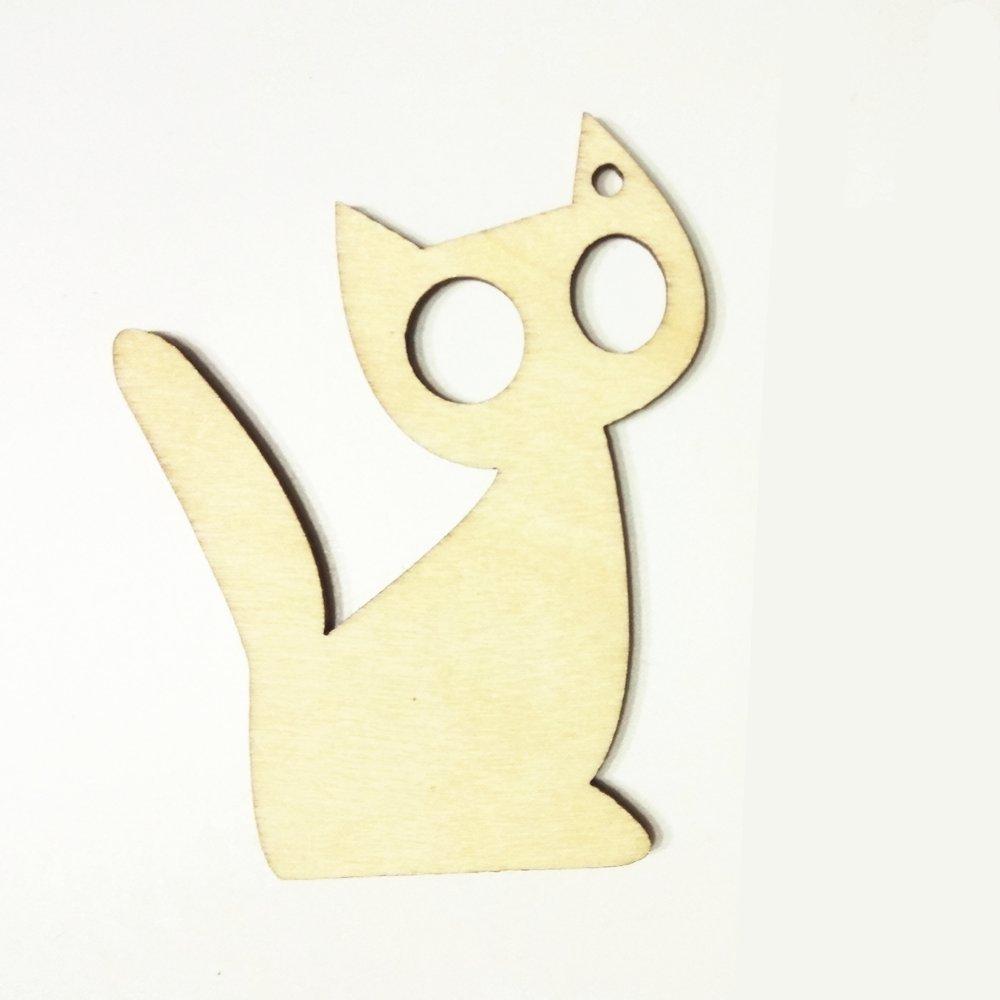 V71 10x Wooden Cat Kitty Embellishment Shape Hanging Child Room Decoration
