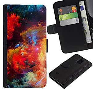 iKiki Tech / Cartera Funda Carcasa - Colors Universe Bright Galaxy Dust Cosmos - Samsung Galaxy S5 Mini, SM-G800, NOT S5 REGULAR!