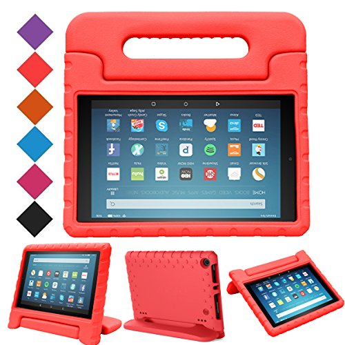 BMOUO-All-New-Fire-HD-8-2017-Case---Light-Weight-Shock-Proof-Handle-Kid-Proof-Cover-Kids-Case-for-All-New-Fire-HD-8-Tablet-7th-Generation-2017-Release-Red