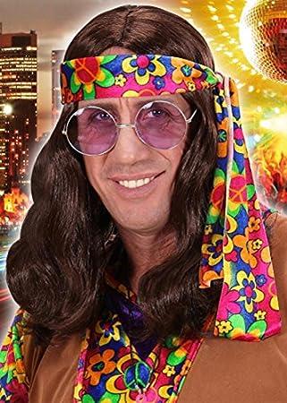 John Lennon al estilo hippie marrón peluca