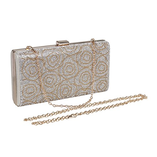 Silver Rose Textured Damara Crystal Clutch Studded Evening Elegent Womens B8wRFO6