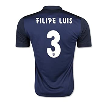 2016 populares equipos Atlético Madrid 3 Filipe Luis Away Jersey de fútbol en color azul marino