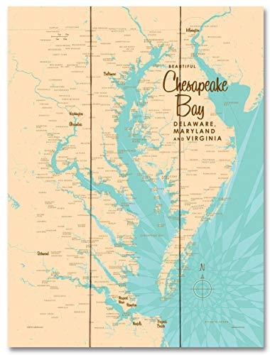 Chesapeake Bay MD Virginia Vintage-Style Map Wood Art Print by Lakebound (18
