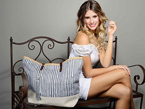 and Stripes C Ideapiu Tassel Bag deco 2 Handles nbsp;PU Fabric qwnCa7x4T