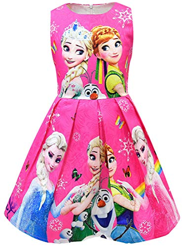 WNQY Princess Elsa Role Play Costume Party Dress Little Girls Anna Cosplay Dress up (140/6-7Y, Rose)
