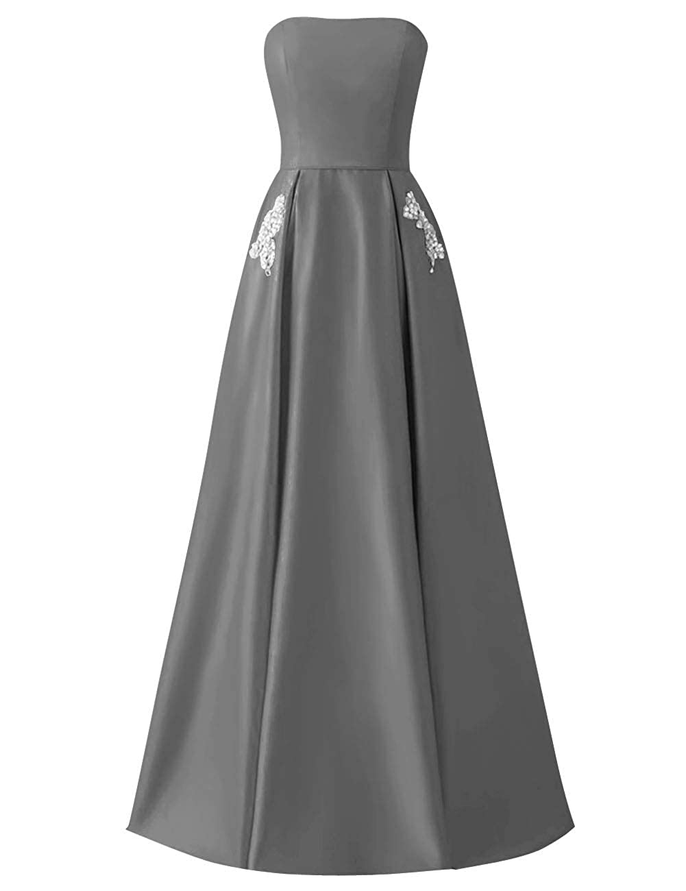 Steel Grey MorySong Women Strapless Beading Pocket Prom Dress Satin Long Evening Party Gown