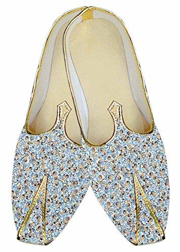 Inmonarch Mens Sky Blue Wedding Footwear Paisley Mj016005