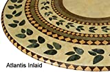 "Mosaic Table Cloth Round 36"" to 48"" Elastic Edge Fitted Vinyl Table Cover Inlaid Atlantis Pattern Brown Tan Green"