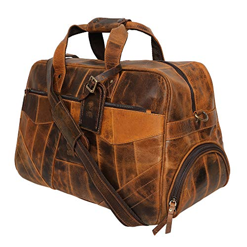 - Handmade Leather Duffel Bag For Men | Airplane Travel Carry On Duffle Bag | Underseat Weekender Luggage By Rustic Town